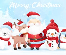 Cute Santa Claus and friends watercolor illustration vector