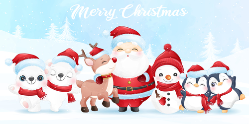 Cute Santa Claus and friends watercolor illustration vector