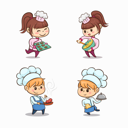 Cute children making food vector