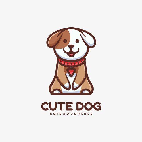 Cute dog mascot logo vector