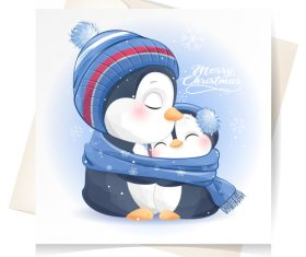 Cute penguin watercolor illustration vector