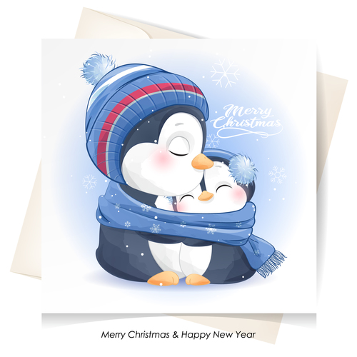 Cute penguin watercolor illustration vector