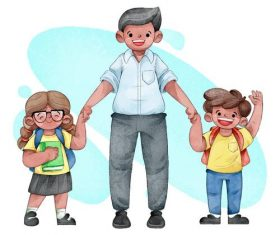 Dad sending children to school vector