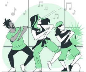 Dancing cartoon background vector