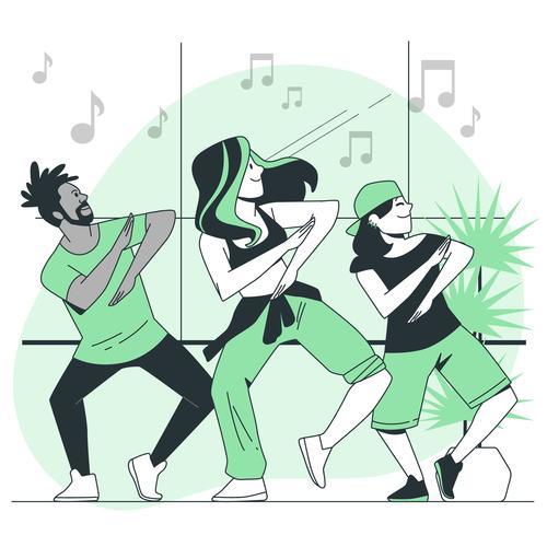 Dancing cartoon background vector
