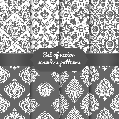 Dark and light flowers seamless pattern vector