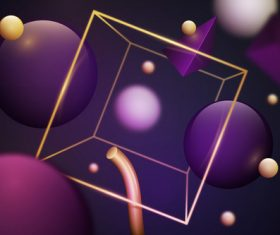 Dark background 3D purple and yellow graphic vector