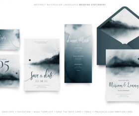 Dark gradient background wedding invitation vector