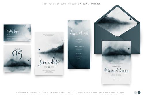 Dark gradient background wedding invitation vector