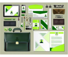 Dark green business suit stationery vector