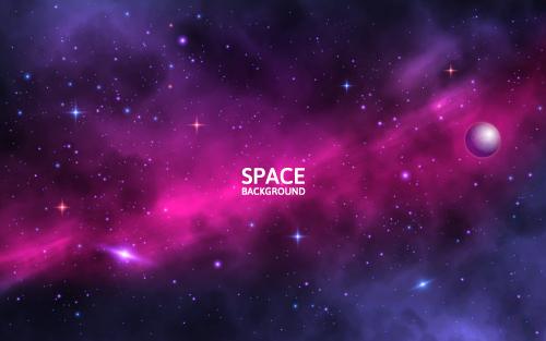 Dark red starry sky background vector