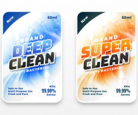 Deep clean laundry detergent label vector
