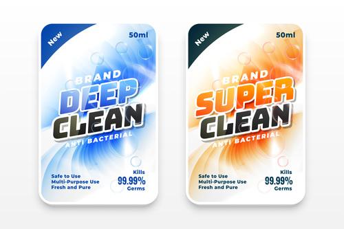Deep clean laundry detergent label vector