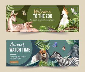 Deer zebra zoo poster banner vector