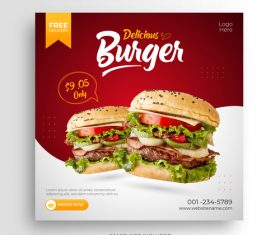 Delicious burger promotion card vector