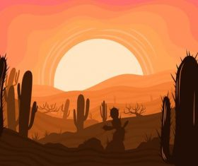 Desert sunset beauty vector