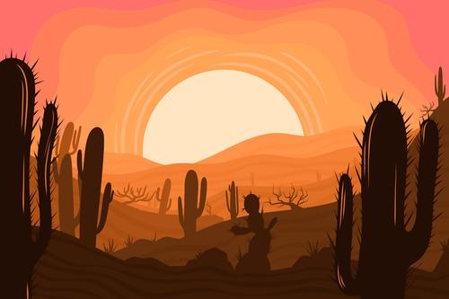 Desert sunset beauty vector