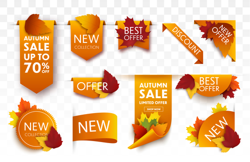 Different autumn leaves sale tags vector