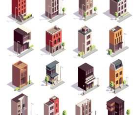 Different building icons vector