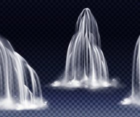 Different forms of waterfalls background vector