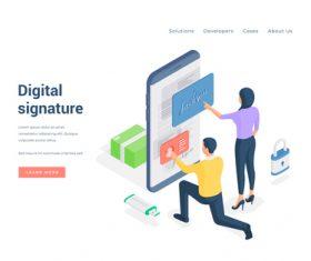 Digital signature illustration vector