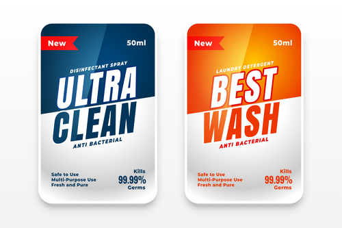 Disinfectant spray label vector