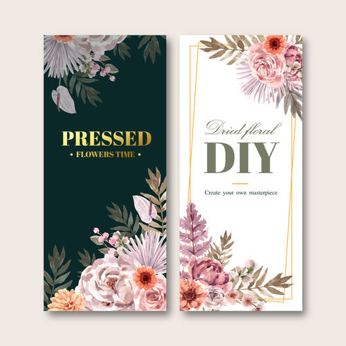 Dried floral flyer template banner vector