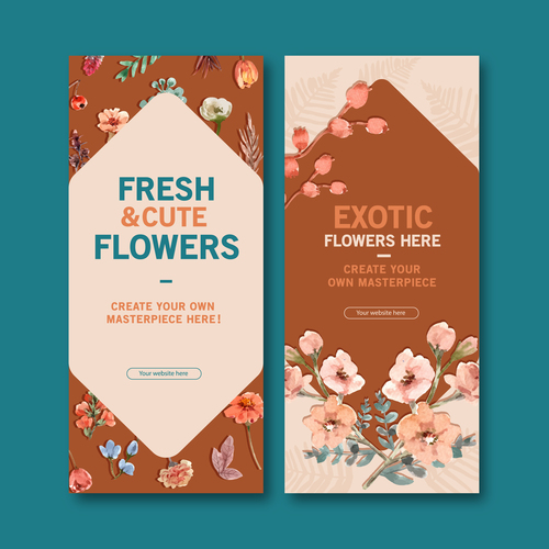 Dried flower poster cover banner vector