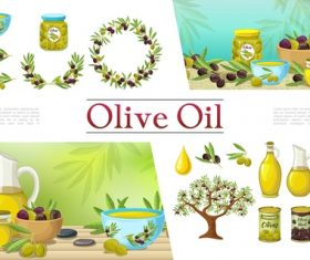 Edible olive oil product vector