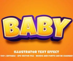 Editable Baby font effect text vector