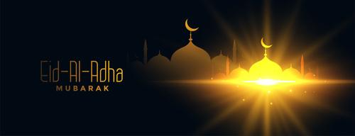 Eid al adha festival flyer vector