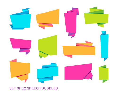Empty origami chat bubble vector