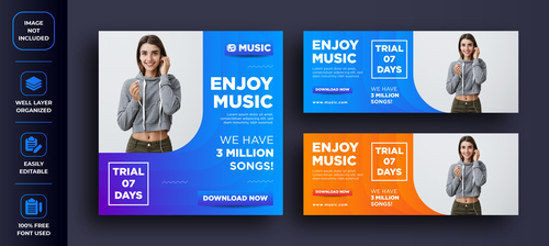 Enjoy music social networks media design vector