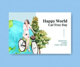 Facebook Template with World Car Free Day Concept Design vector