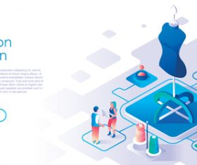 Fashion design isometric template vector