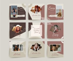 Fashion social media puzzle template vector