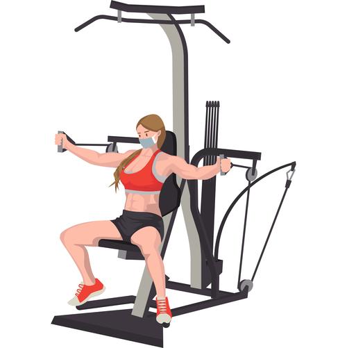 Female chest exercise vector