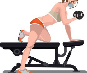 Female fitness correct posture vector