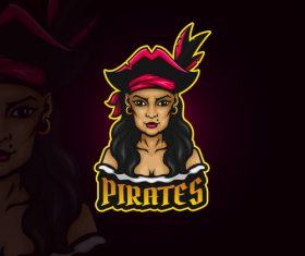 Female pirates emblem gaming vector
