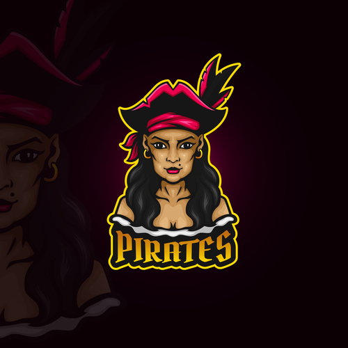 Female pirates emblem gaming vector