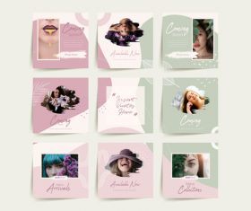 Female social media puzzle template vector