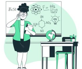 Female teacher cartoon background vector