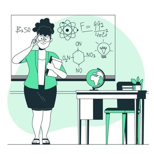 Female teacher cartoon background vector