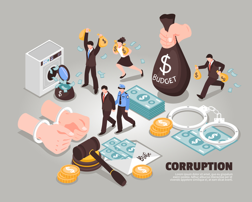 Fight against corruption abstract concept vector
