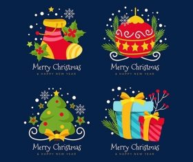 Flat Design Christmas Badge Collection vector