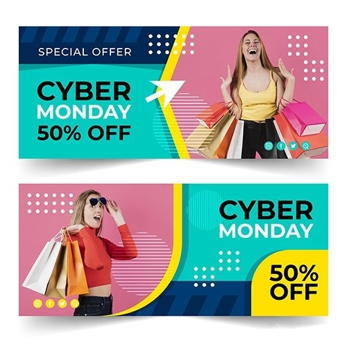 Flat Design Cyber Monday Banners vector