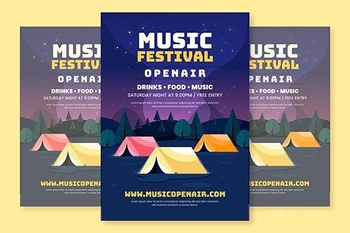 Flat Design Open Air Music Festival Poster Template vector