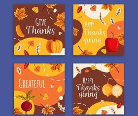 Flat Design Thanksgiving Instagram Post Collection vector