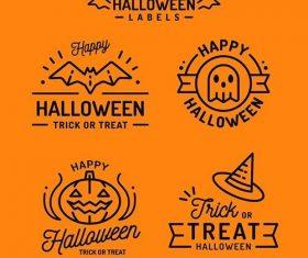 Flat design halloween badge collection vector
