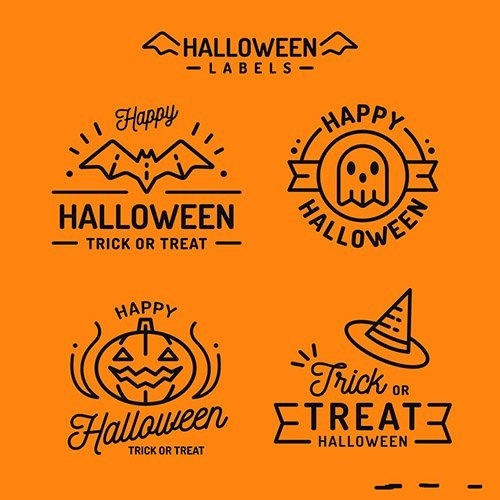 Flat design halloween badge collection vector